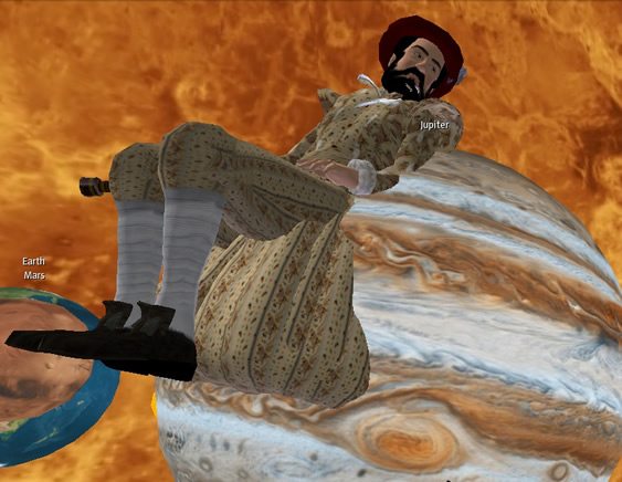 Galileo avatar sitting on Jupiter