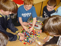 Students separate LEGO blocks